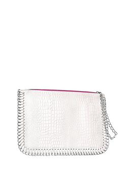 nicki-minaj-pink-trim-oversized-white-clutch-bag