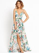 Ruffle Front Floral Maxi Dress
