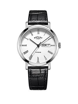 rotary-rotary-windor-white-dial-silver-tone-case-black-leather-strap-mens-watch