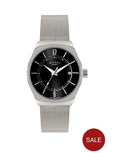 rotary-rotary-black-dial-stainless-steel-mesh-bracelet-mens-watch