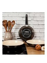 24cm Porcelain Enamel Frying Pan with Cream Non-Stick Coating
