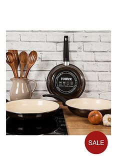 tower-24cm-porcelain-enamel-frying-pan-with-cream-non-stick-coating