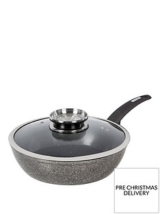 tower-cerastone-28-cm-saute-pan-with-infuser-glass-lid-ndash-black