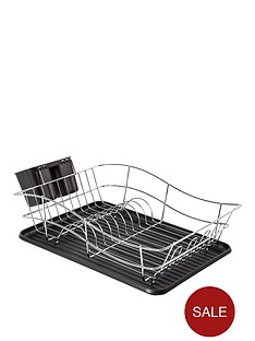 tower-essentials-chrome-dish-rack-with-plastic-tray