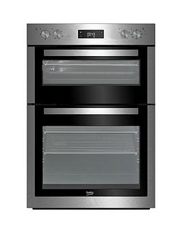 beko-bdf26300x-90cm-built-in-electric-double-oven-with-optional-connection-stainless-steel