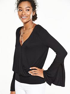 v-by-very-fluted-sleeve-wrap-top-black
