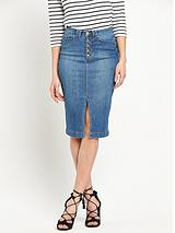 Button And Split Front Denim Pencil Skirt
