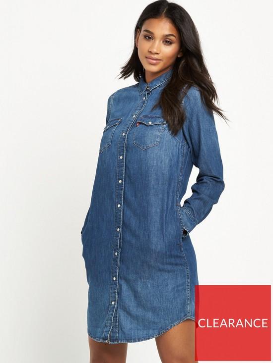 7716e3bc93b Levi s Long Sleeve Iconic Western Dress - Mid Wash