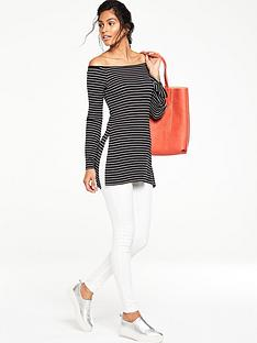 v-by-very-bardot-striped-split-side-tunic-top