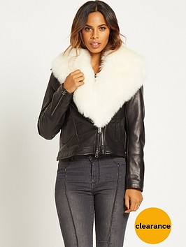 rochelle-humes-faux-fur-collar-leather-biker-jacketnbsp