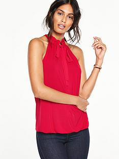 v-by-very-tie-neck-bubble-hem-top
