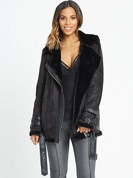 rochelle-humes-faux-fur-shearling-jacket-black