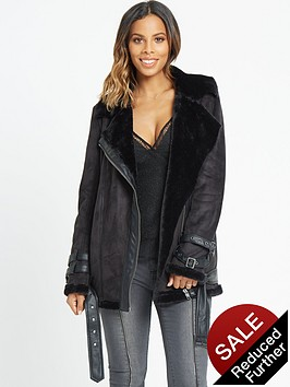 rochelle-humes-faux-fur-shearling-jacket-black