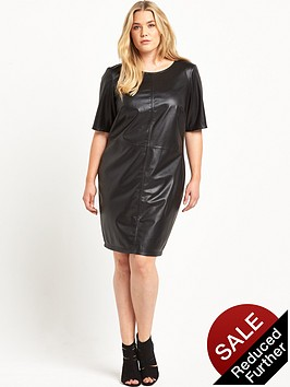 junarose-pu-fitted-dress-black
