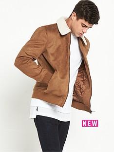 river-island-suedette-harrington-borg-trim-jacket