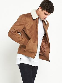 river-island-suedette-harrington-borg-trim-jacket