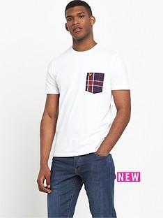 lyle-scott-check-woven-pocket-t-shirt