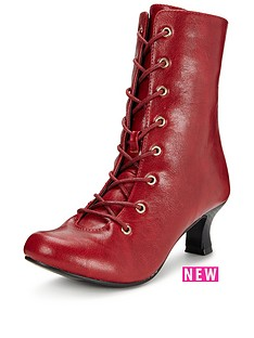 joe-browns-fabulous-lace-up-ankle-boots-red