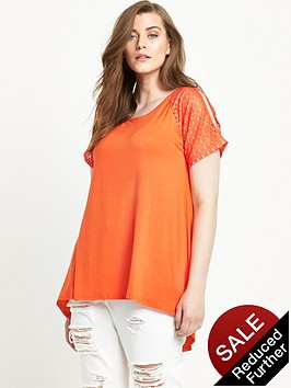 so-fabulous-lace-sleeve-cold-shoulder-t-shirt-orange