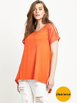 v-by-very-curve-lace-sleeve-cold-shoulder-t-shirt-orange