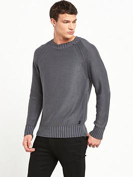 replay-zip-detail-knitted-jumper
