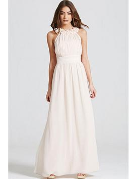 little-mistress-corsage-gathered-waist-maxi-dress