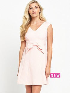 coast-mayra-bow-jacquard-dress-blush