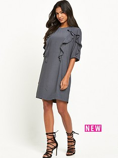 warehouse-ruffle-detail-shift-dress-grey