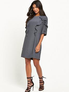 warehouse-ruffle-detail-shift-dress-grey