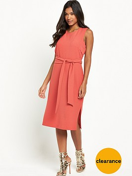 warehouse-sleeveless-belted-dress