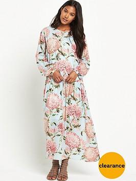 warehouse-pom-pom-print-drawstring-dress