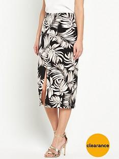 wallis-palm-print-split-front-pencil-skirt