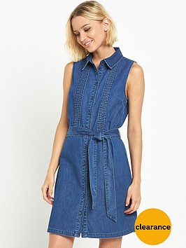 miss-selfridge-pintuck-detail-utility-denim-shirt-dress