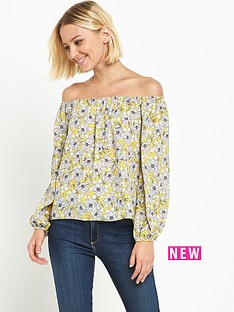 miss-selfridge-chatreuse-floral-bardot-top