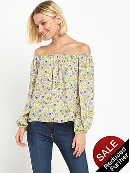 miss-selfridge-chatreuse-floral-bardot-top