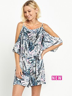 miss-selfridge-printed-cold-shoulder-playsuit