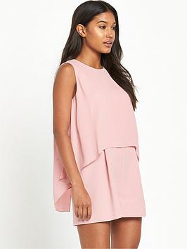 miss-selfridge-double-layernbspplaysuit-pink