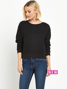 miss-selfridge-miss-selfridge-black-texture-sweat