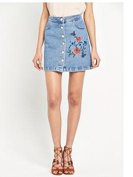 miss-selfridge-floral-embroidered-denim-skirt