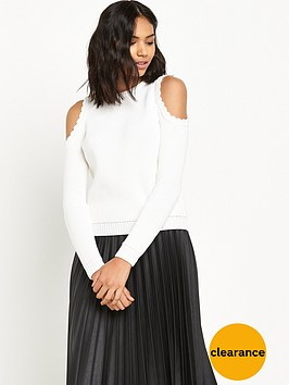 miss-selfridge-cold-shoulder-scallop-jumper