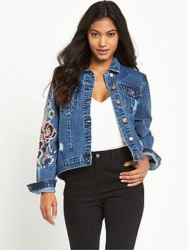 glamorous-embroiderednbspfloral-denim-jacketnbsp