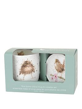 portmeirion-wrendale-flying-the-nest-mug-and-coaster-set