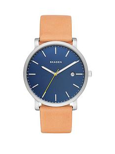 skagen-hagen-blue-dial-silver-tone-case-light-brown-leather-strap-mens-watch
