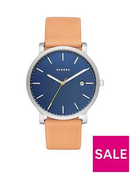skagen-hagen-blue-dial-silver-tone-case-light-brown-leather-strap-mens-watch