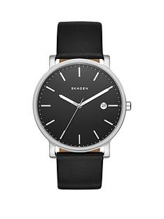 skagen-hagen-black-dial-silver-tone-case-black-leather-strap-mens-watch