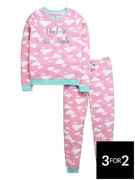 v-by-very-girls-head-in-the-clouds-fleece-twosie-pyjamas