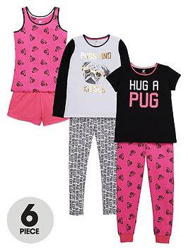 v-by-very-girls-hug-a-pug-pyjamas-set-6-piece
