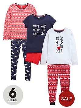 v-by-very-girls-fairislenbspchristmas-pyjamas-set-6-piece