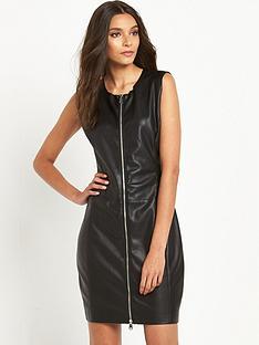replay-leather-look-zip-through-dress-black