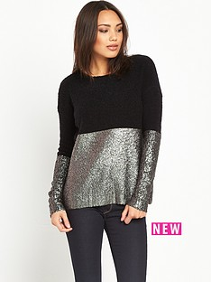 replay-replay-coated-gold-foil-shiny-knit-top